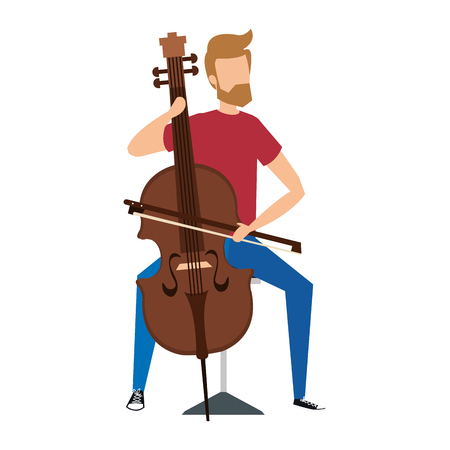 man die klassiek cello-instrument vectorillustratieontwerp speelt