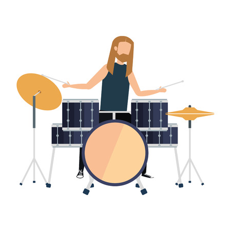 man playing drums battery vector illustration design