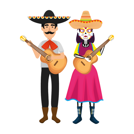 couple of mexican mariachi characters vector illustration design 写真素材 - 111070643