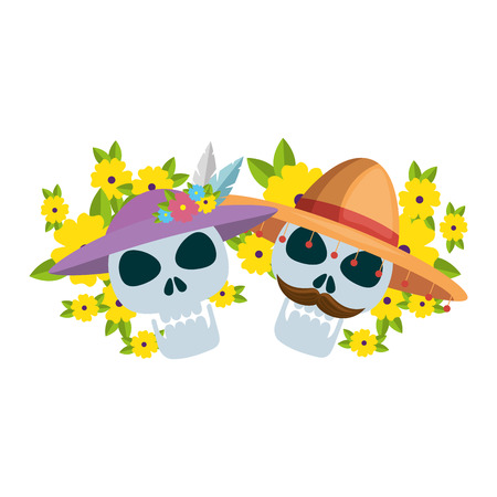 mask of the santa death with flowers vector illustration design Stock Vector - 111070660