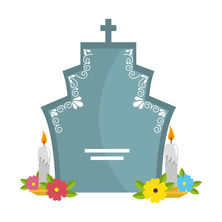 tombstone with flowers and candles vector illustration design
