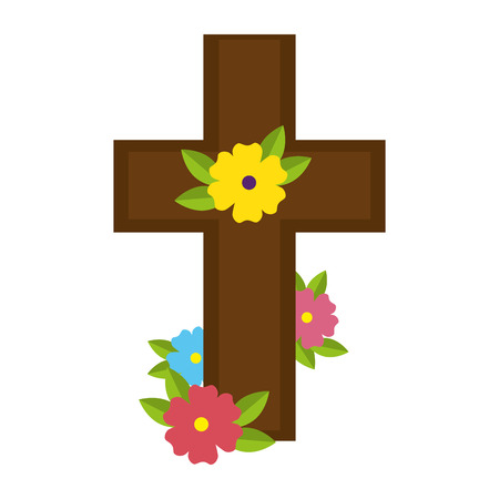 wooden cross with marigold flowers vector illustration design