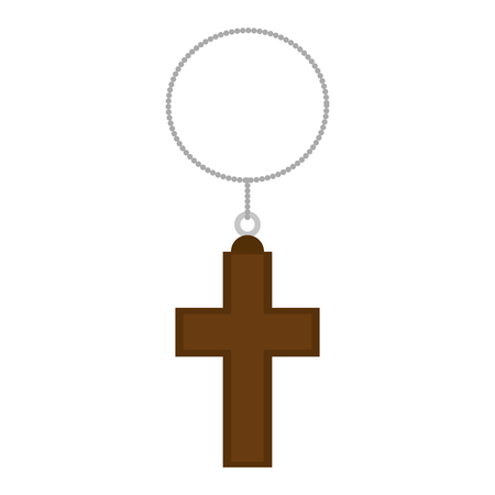 cross wooden hanging icon vector illustration design