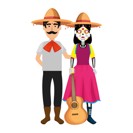 couple of mexican mariachi characters vector illustration design