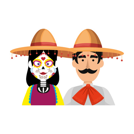 couple with mexican costume characters vector illustration design 写真素材 - 111071447