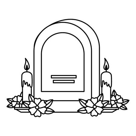 grafsteen met bloemen en kaarsen vectorillustratieontwerp