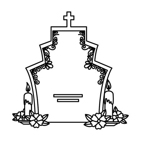 grafsteen met bloemen en kaarsen vectorillustratieontwerp Vector Illustratie