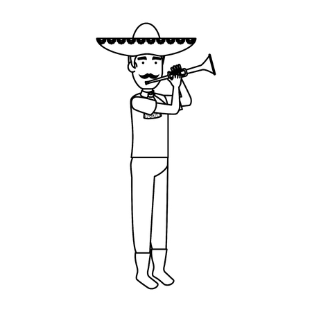 traditional mexican mariachi with trumpet vector illustration design