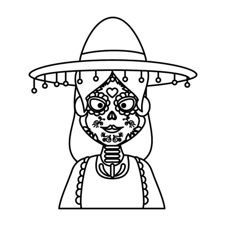 mexica woman with catrina costume vector illustration design