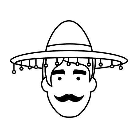 traditional mexican mariachi head character vector illustration design