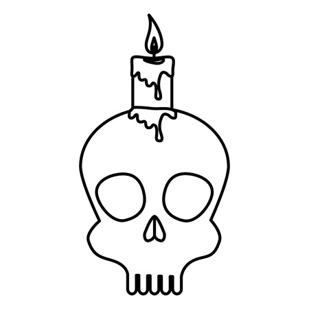 mask of the santa death with candle vector illustration design
