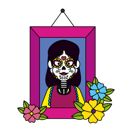 picture of woman with catrina costume vector illustration design