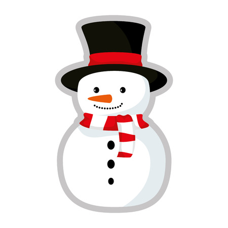 cute snowman christmas character vector illustration design Reklamní fotografie - 111072254