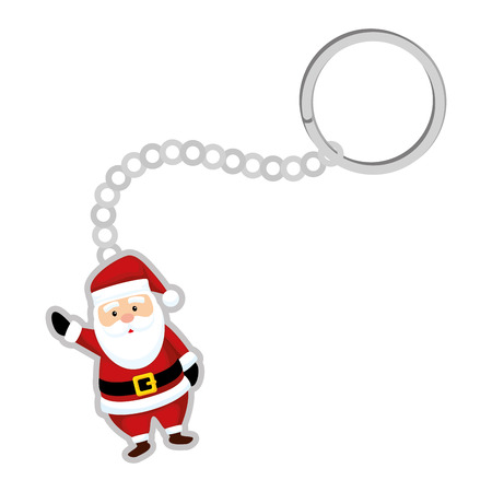 keychain with cute santa claus character vector illustration design Stock Illustratie
