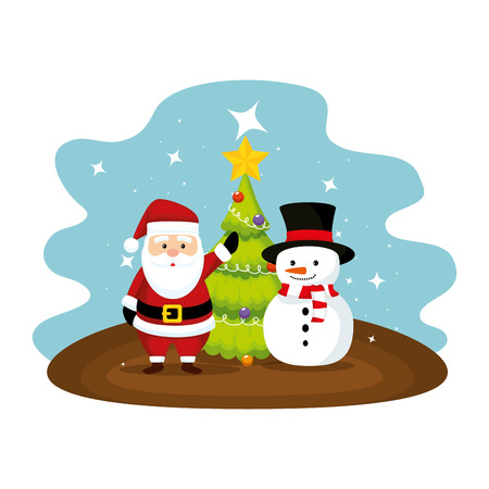 cute santa claus with snowman character vector illustration design Ilustrace