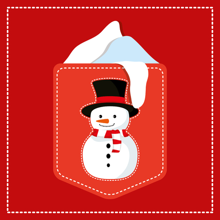 tag with cute snowman christmas character vector illustration design