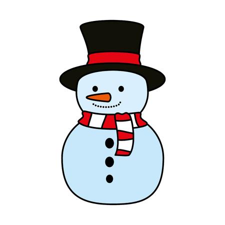 cute snowman christmas character vector illustration design