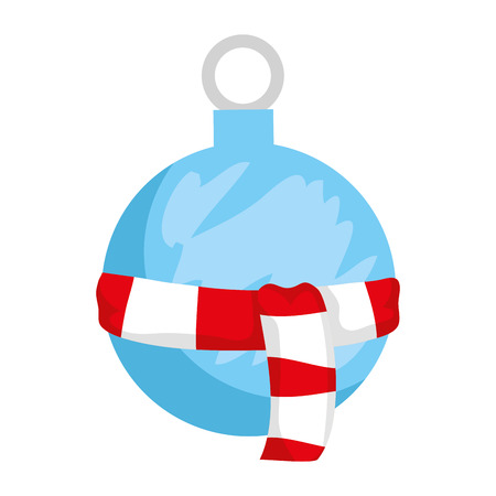 merry christmas ball hanging with scarf vector illustration design