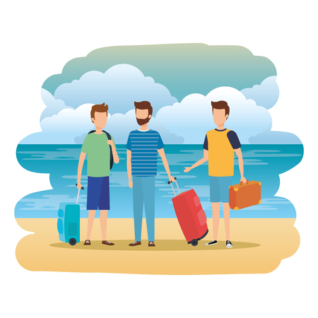 young men with suitcases on the beach vector illustration design 일러스트