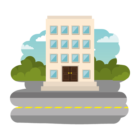 street cityscape scene with hotel building vector illustration design Banque d'images - 111077676