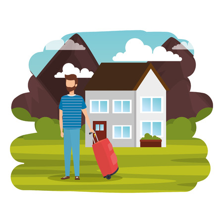 young man with suitcase travel in landscape vector illustration design