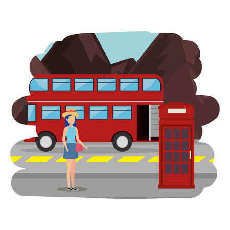 beautiful tourist girl in london street vector illustration design Ilustração