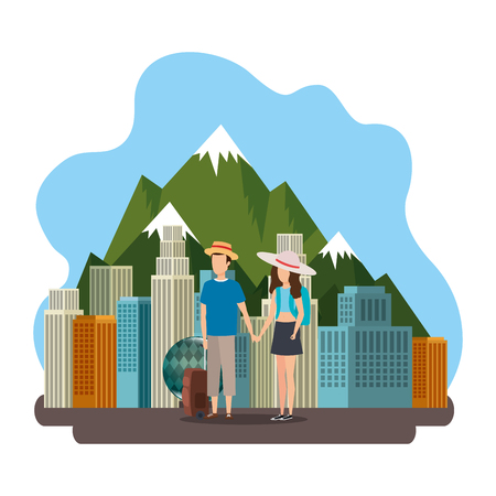 young couple with suitcase on the canadian street vector illustration