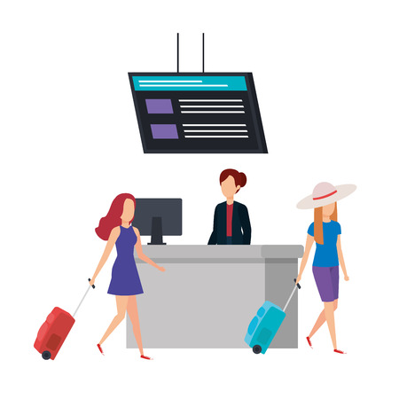 tourists girls with suitcases in the airport vector illustration design 向量圖像