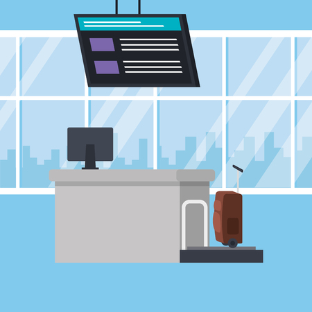 checkin airport place scene vector illustration design 向量圖像