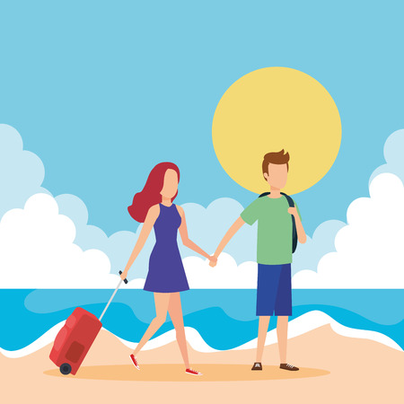young couple with suitcase on the beach vector illustration design