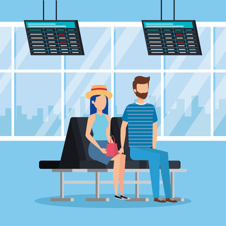 young couple with suitcase in the airport vector illustration design