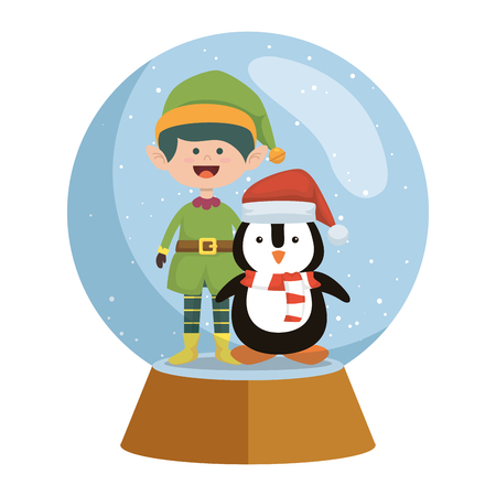 cute elf with penguin christmas in snow sphere vector illustration design