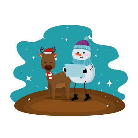 cute reindeer with snowman christmas characters vector illustration