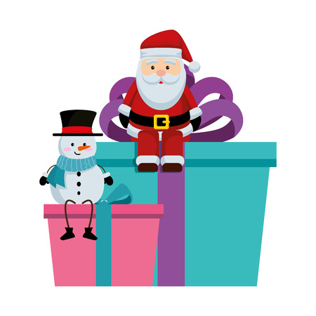 santa claus amd snowman in gifts vector illustration design Vector Illustration