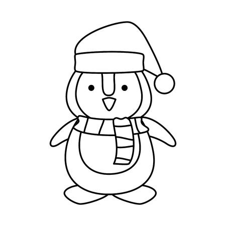 cute penguin with santa claus hat vector illustration design