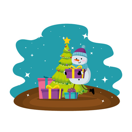 merry christmas tree with gifts and snowman vector illustration design