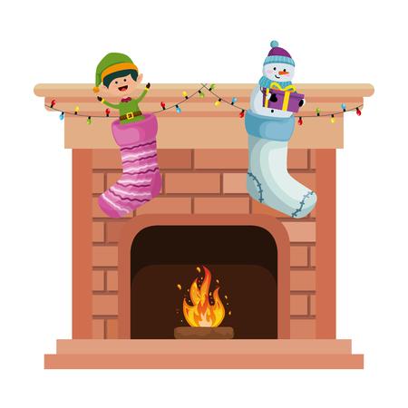 komin ze świątecznymi skarpetami projekt ilustracji wektorowych
