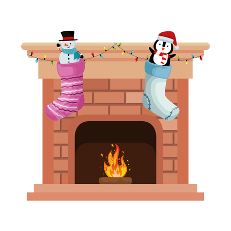 chimney with christmas socks vector illustration design Иллюстрация
