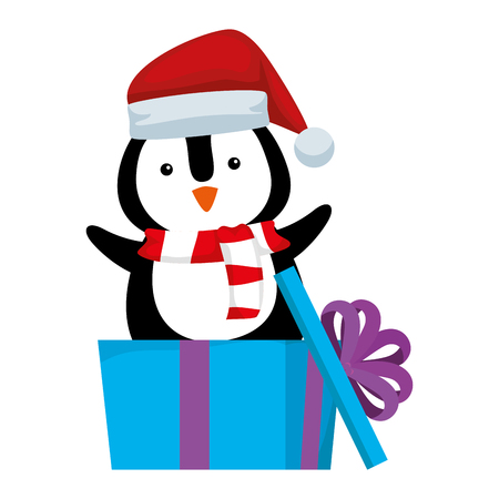 cute penguin with santa claus hat in gift vector illustration design Illusztráció