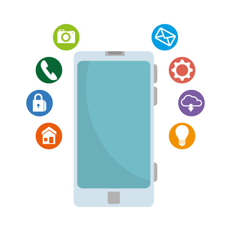 smartphone with social media icons vector illustration design Illustration