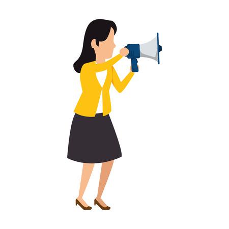 beautiful woman with megaphone vector illustration design Illustration