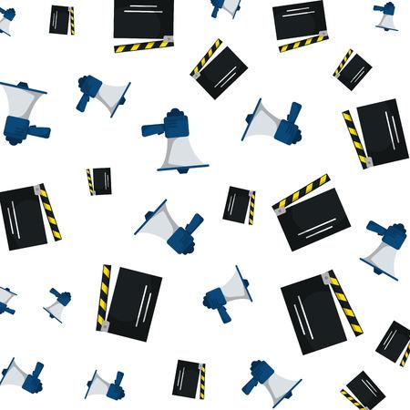 cinema clapperboard and megaphone pattern vector illustration design Illustration