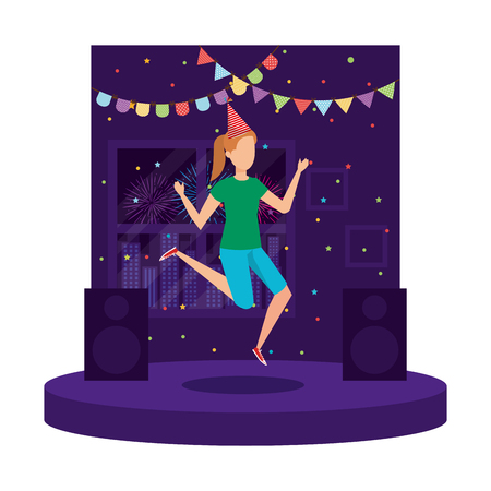 woman with party hat celebrating vector illustration design Illustration