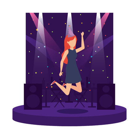 woman with party hat celebrating vector illustration design Stock Vector - 111092692