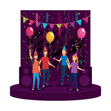 young people with party hat celebrating vector illustration design