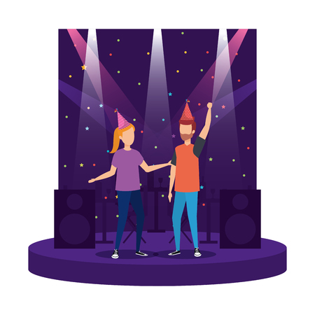 young couple with party hat celebrating vector illustration design Illustration