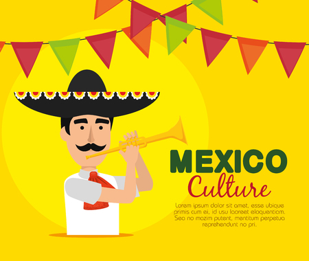 mariachi man with trumpet and party banner vector illustration