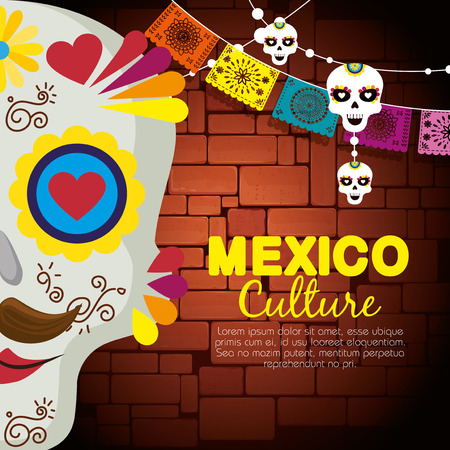 skull man with party banner to day of the dead vector illustration Stock Illustratie