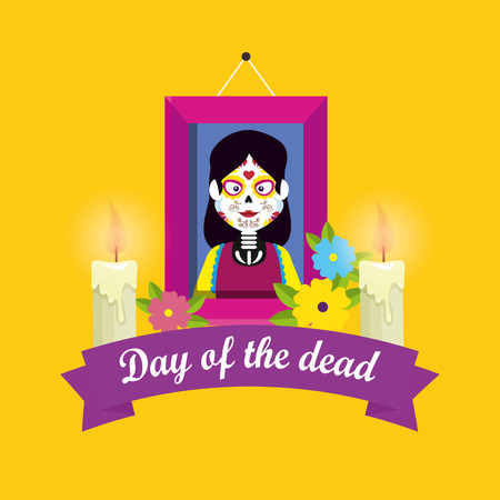 picture with candles and flowers to day of the dead vector illustration Illustration
