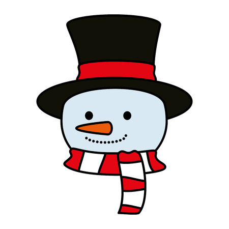 cute snowman head christmas character vector illustration design Stock Illustratie